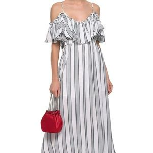 TART COLLECTIONS Cold-shoulder ruffled woven maxi
